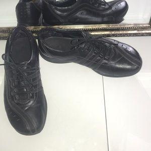 Clark's black leather wave walk lace up shoes Sz 8